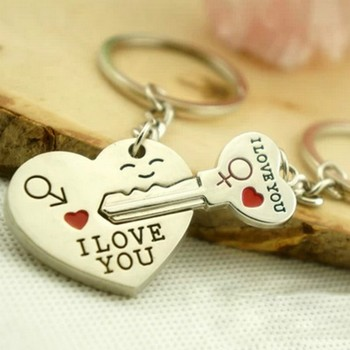 78f97d59ed 2015 Hot Sale Zinc Alloy Silver Plated Lovers Gift Couple Heart Keychain  Fashion Keyring Key Creative