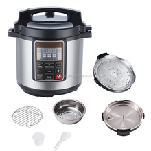 Multifunctional Electric Pressure Cooker with Measuring Cup, Spoon, and Stainless-Steel Steam Rack and Basket, 6-QT