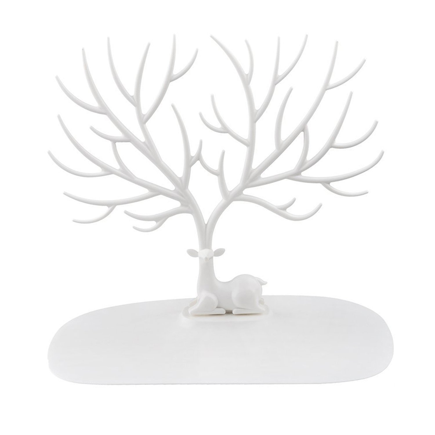 Jewelry Organizer Stand Display Tower, Earring Bracelet Ring Necklace brooches Holder Jewelry Rack – ABS Material Deer Tree-White