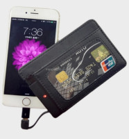 Multi Fucntion promotion pu credit cards money clip wallet with integrative power bank 20000mah