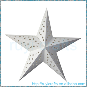 3D White Christmas paper star lamp shade home decoration supplies hanging paper star