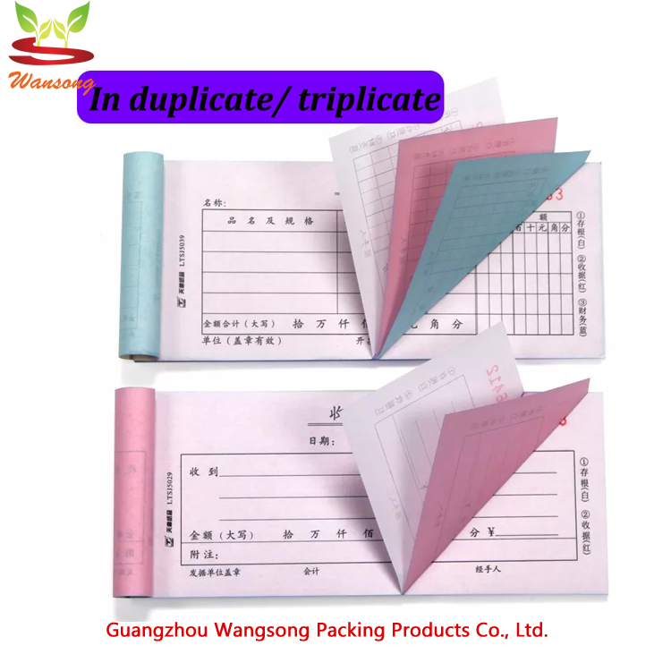 custom A5  duplicate/ triplicate invoice printing, NCR paper receipte book/ bill  with serial number