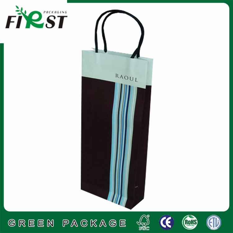 Custom made full color logo print laminated shopping paper bag