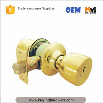 Antique Brass Color Cylindrical Knob Door Lock Locked Entry Privacy Door  Easy To Install In