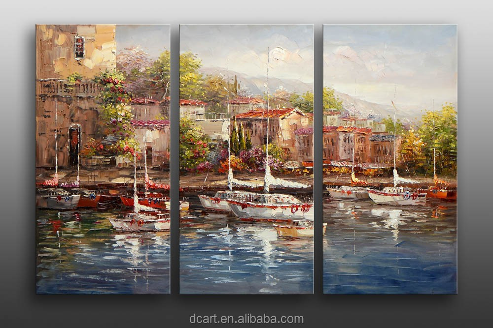 Beautiful seaside garden scenery cheap hand painted decorative canvas group painting