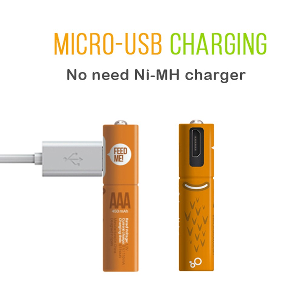 China supplier 1.2V 450mAh Ni-MHx2 AAA USB rechargeable <strong>battery</strong> for electric toys