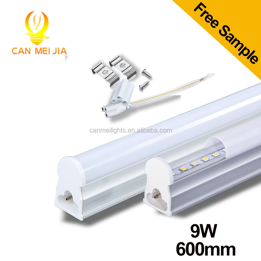 Factory price AC85-265V 600mm 2ft 9W T5 led integrated tube light lamps