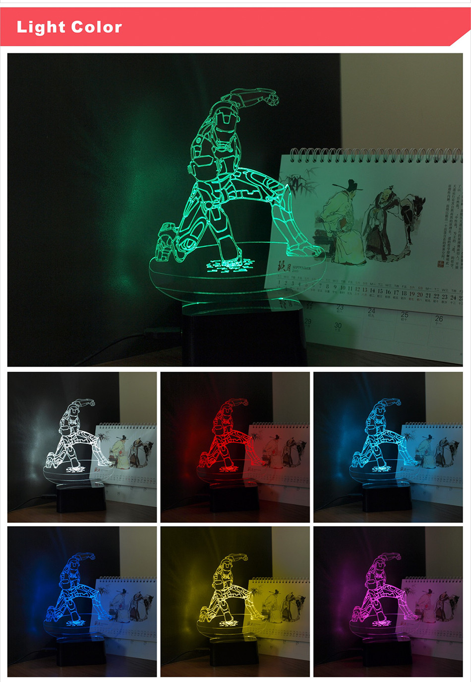 iron Man Seven Colors LED RGB Table Lamp Christmas Light  (3)