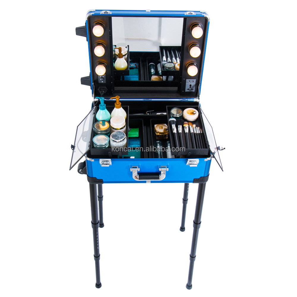 2-Wheel Rolling Studio Makeup Case With Light Artist Cosmetic Case Adjustable Leg Mirror Train Case