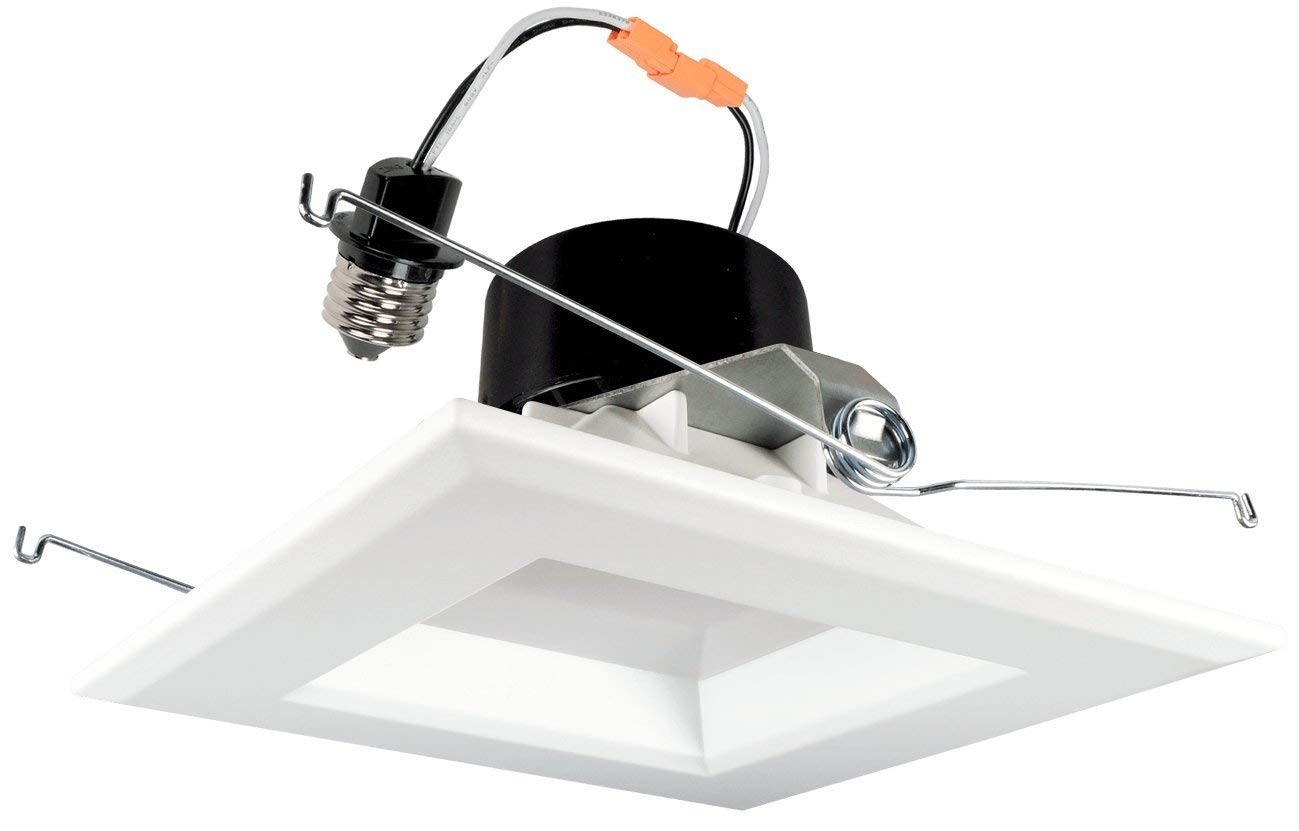 Goodlite G-19960 5-inch Square LED Retrofit Downlight Recessed Housings, White Smooth trim, Dimmable, 16W 1200 Lumens 120W Eqv. CRI 90 Wet Loaction, Warm White 3000k