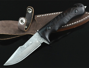 Damascus Steel Blade Black Wood Handle FIxed Blade Collect Hunting Bowie Knife with Leather Sheath