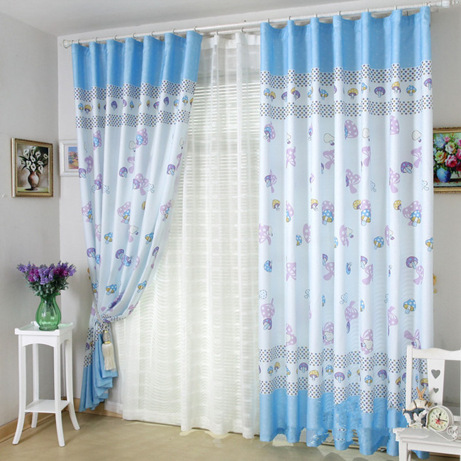 Brief cartoon sweet finished products child purple blue - Blue and purple bedroom curtains ...