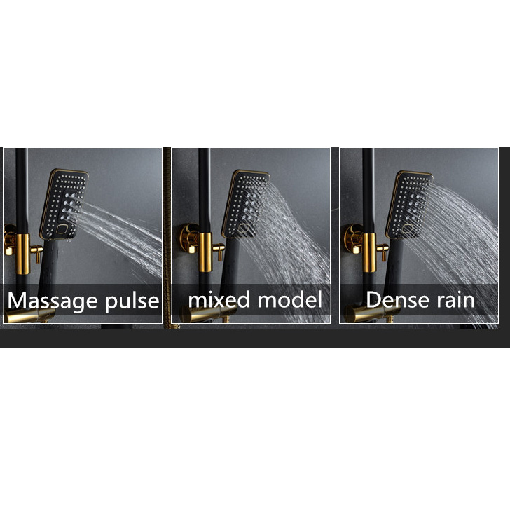 water saving wall mounted handheld rainfall shower with rack