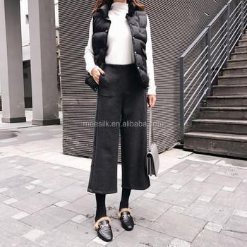 2018 Women Wool Blended Wide Leg Ankle Pants Ladies Fashion Cropped Trousers