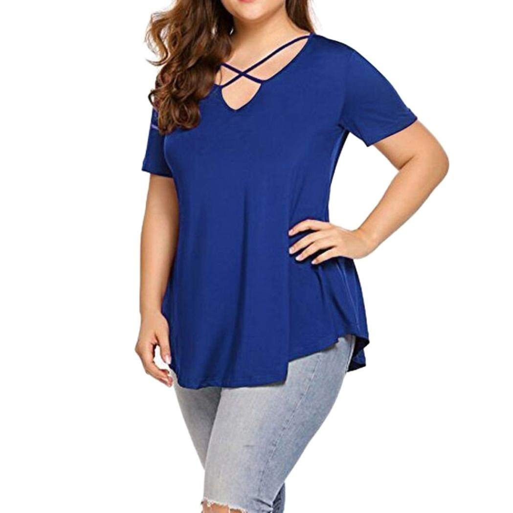 Womens Top, Franterd Summer Plus Size Criss Cross V Neck Short Sleeve Tunic Tops Leisure Shirts Dressy Loose Blouse