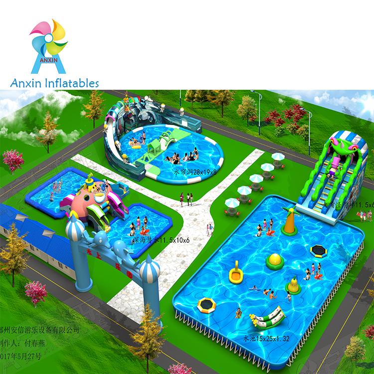 Standard size new design low cost kids inflatable water land park
