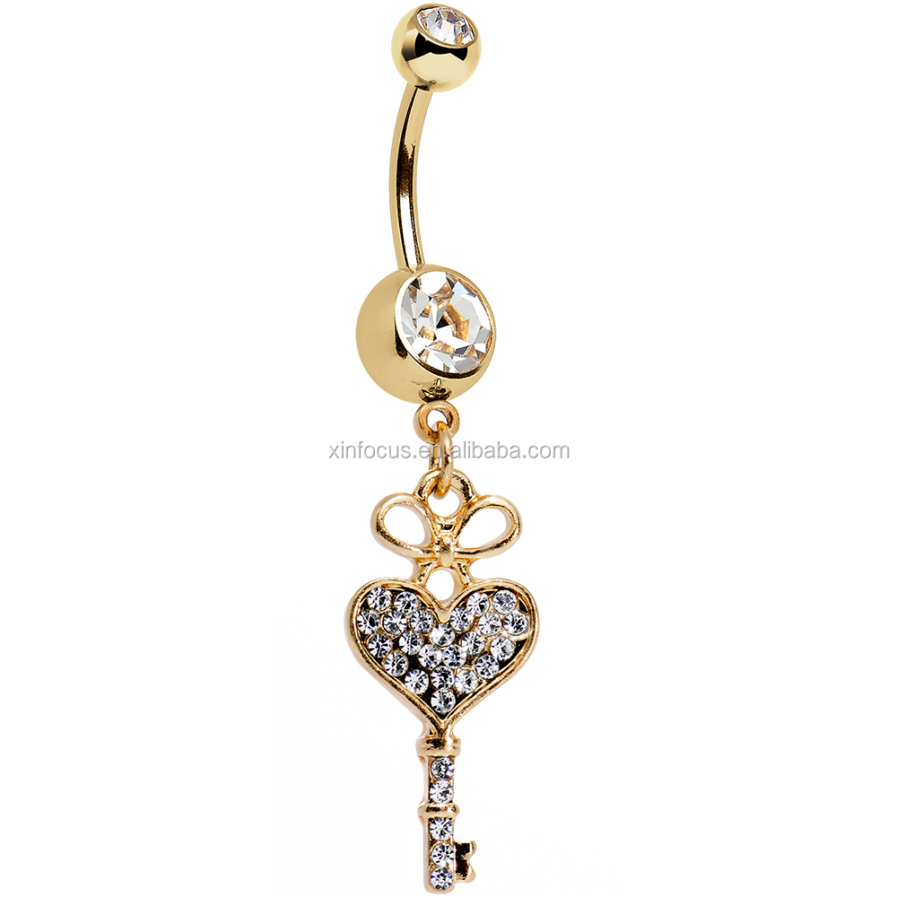 Clear Gem Gold Anodized Have a Heart Hold the Key Dangle Belly Ring