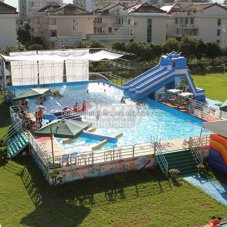 Professional mobile swim pool steel frame swimming pool with inflatable pool slide