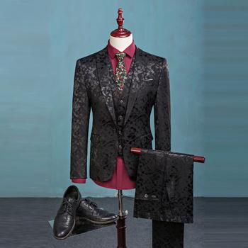 WB162 (chaqueta + Pantalones + chaleco) de los hombres de la moda traje de 906e41262d6