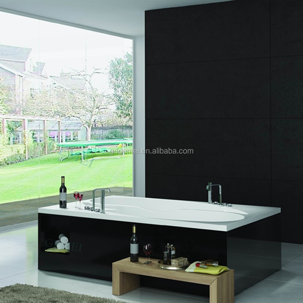 New design bathroom square tub acrylic solid surface stone freestanding hand wash bathtub
