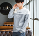 Men's hoodies long sleeve sweater screen printing hoodie two color blended split joint