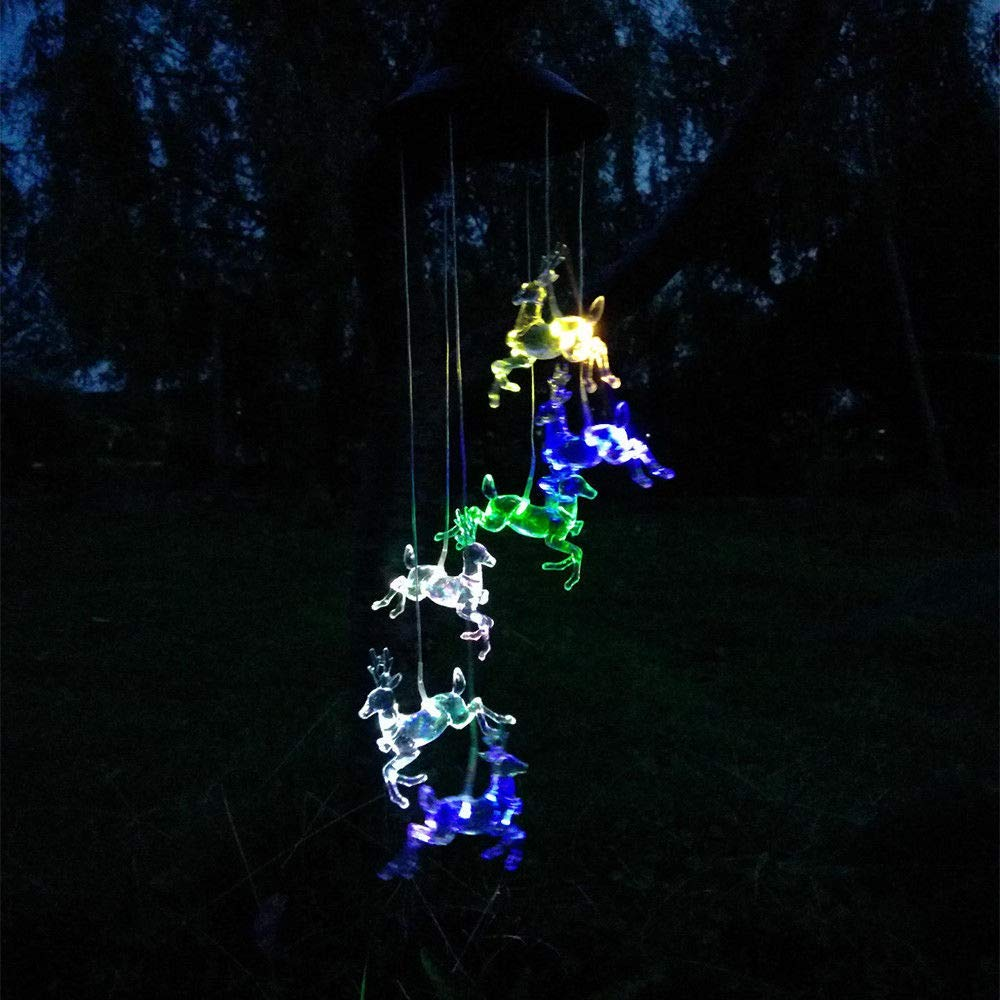 DSstyles LED Elk Color-Changing Solar Wind Chime Lamp Waterproof Solar Energy Power Lamp for Home Party Garden Decoration