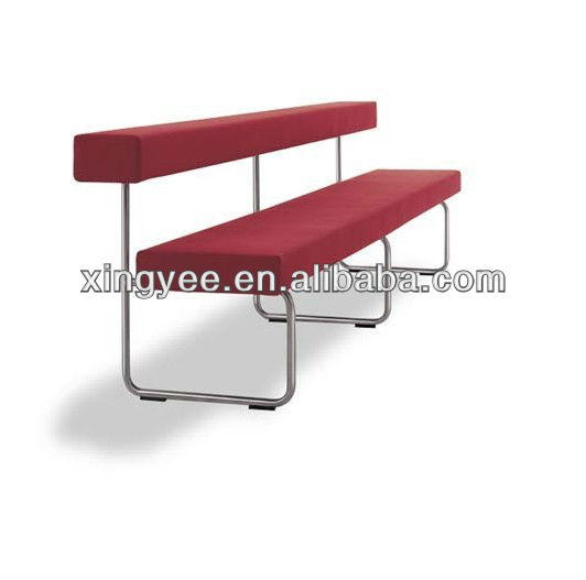 modern indoor chair seat furniture chromed stainless steel leather benches chair waiting room fabric long seating bench