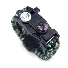 Paracord bracelet with compass flint fire starter, scraper and SOS LED. Fit wrists 7 to 9 inches