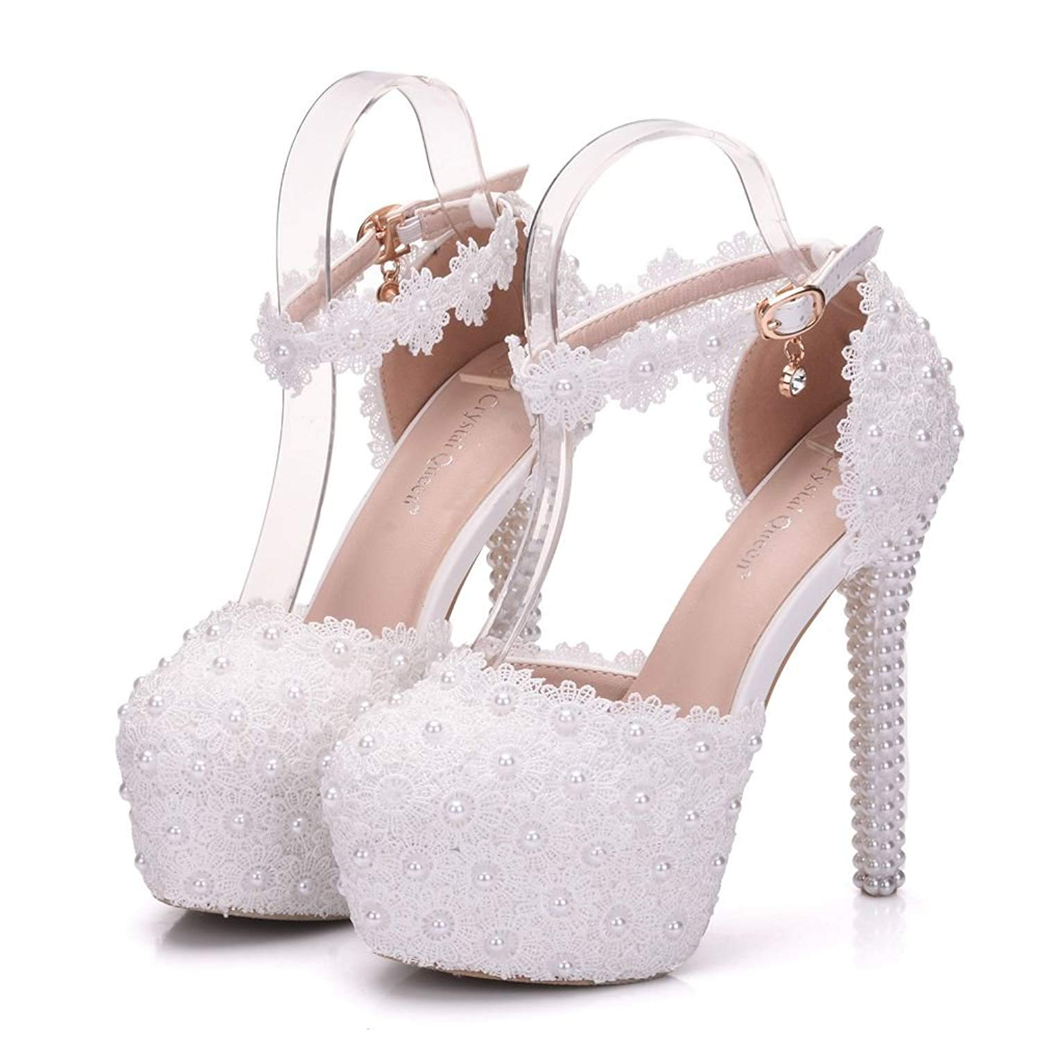 Get Quotations · Crystal Queen White Lace Wedding Heels Sandals Thin High  Heels Sandals Round Toe Platform Sandals for 30c4adab1b9d