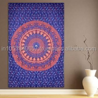 Wall Hanging Tapestry Blue Red Mandala Tapestry Dorm Decor Bohemian