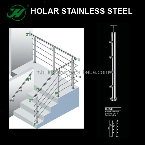 New Design Of Stainless Steel Railing, Stair Glass Railing Prices