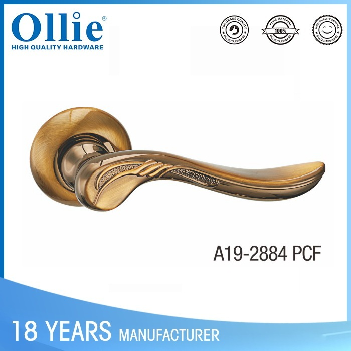 China supplier zinc lever door handle lock on rose PCF-CP COLOR with rosette
