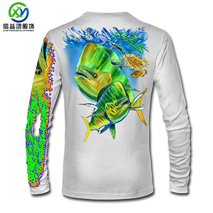 Chidren t shirt type full sublimation fish print uv protection 6XL polyester spandex fishing shirt
