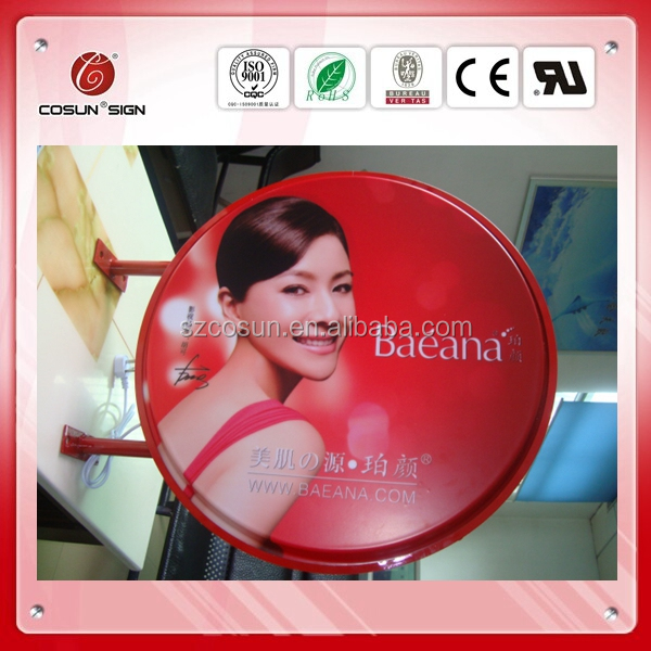 Round shape double sided illuminated acrylic blister light box/ plastic light box
