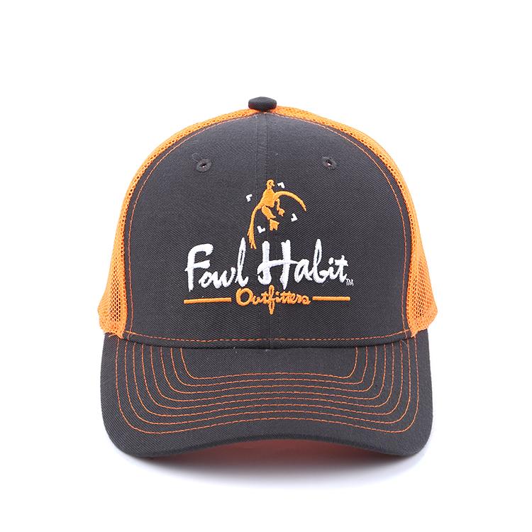Customized black orange cotton twill and mesh polyester 6 panels trucker hat