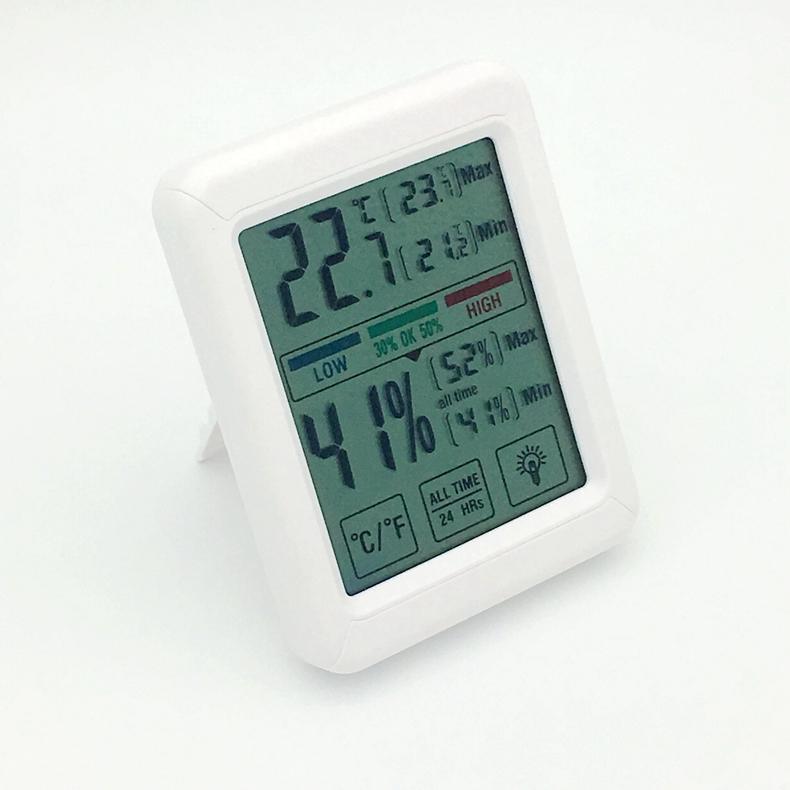 Rumah Tangga Indoor Layar Sentuh LCD Digital Thermometer Hygrometer