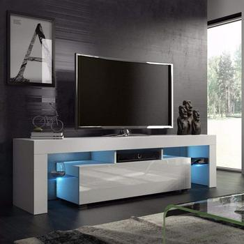 Fashionable Design Tv Stand Home Living Room Led Cabinet High Gloss White Modern Double With