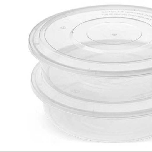 4500ML White Transparent disposable clear round plastic food container, round disposable food container