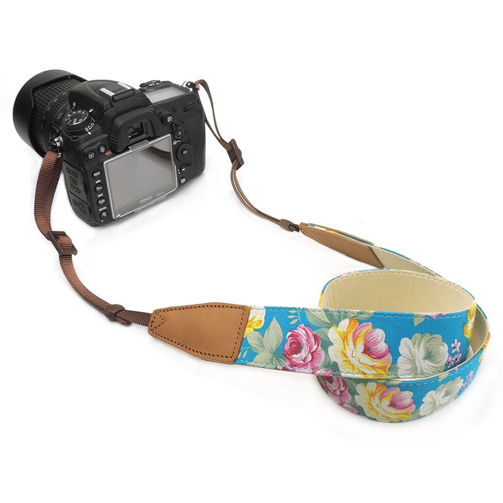 CHMETE Print Flower Universal Adjustable Camera Shoulder Strap for DSLR Camera (Blue)