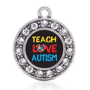 Metal Crystal Teach Love Autism Awareness Charms & Pendants Fashion Survivor Jewelry For Necklaces