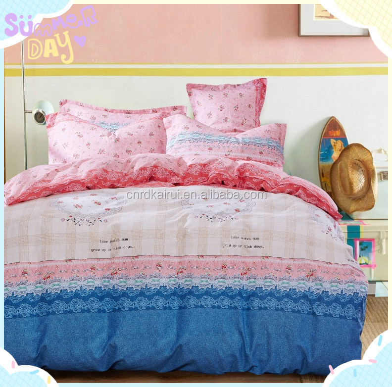 New Factory price luxury five star quality hotel custom printed floral polyester/cotton quilt bedding set