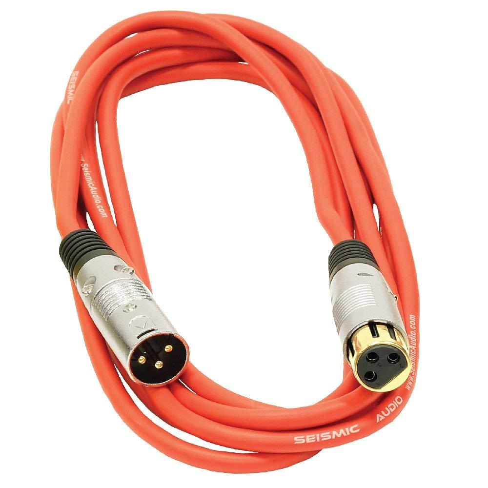 Seismic Audio SAPGX-10Red Premium 10' XLR Patch Cable Cord - 3 Pin XLRF to XLRM Mic Cord, Red