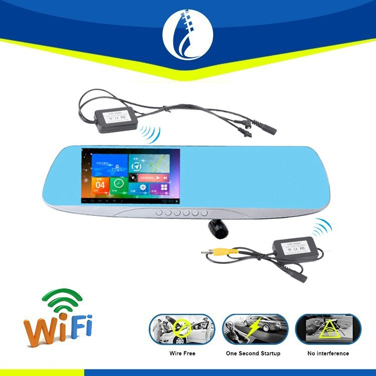 5inch Android Wire Free WiFi Auto Car DVR parking sensor, GPS Navigation Reserving Rearview Mirror with Parking sensor