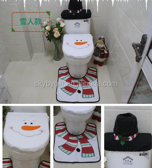 Christmas Xmas Decoration Set Santa Elf Reindeer Snowman Toilet Seat Cover