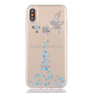 Angel tpu case back cover for iPhone X, Epoxy soft tpu case for iPhone X