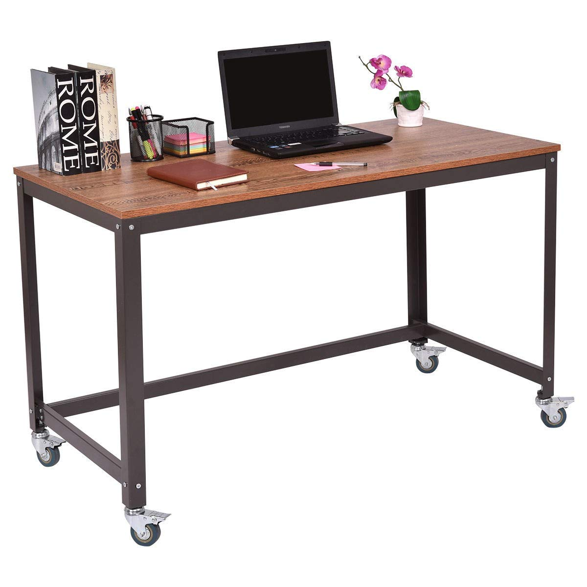 Get quotations · mrt supply metal frame computer desk with wheels with ebook