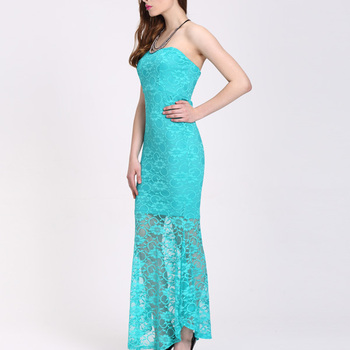 9d1a73b76 Latest Stylish Blue Floral Maxi Lace Sexy Sheer Transparent Dress ...