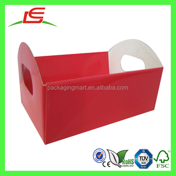 M186 wholesale large red hamper cardboard basket tray with handle hools