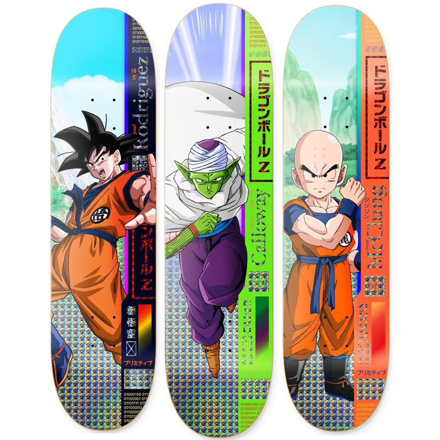 Primitive Dragon Ball Z Skateboard Decks Goku Piccolo Krillin 3 Pack DBZ Deck