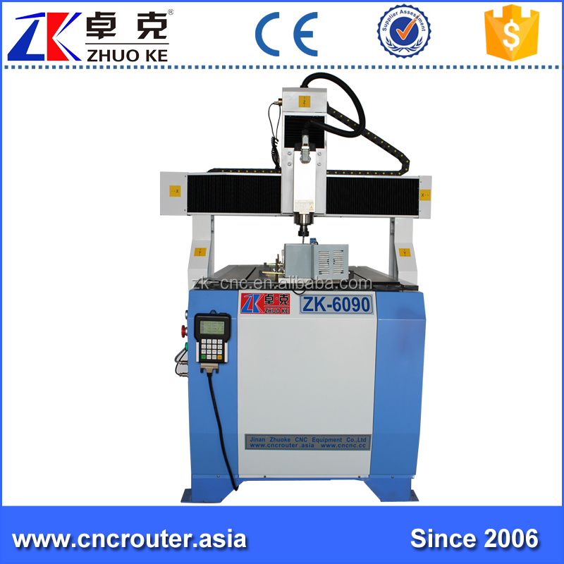 4 Axis DSP Offline Control ZK-6090 Small Desktop CNC Wood Router 6090 Free Shipping With 3.5Kw Air Cool Spindle & Z Axis 200MM